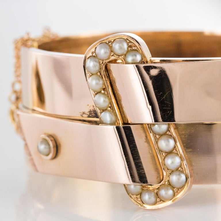 French Napoleon III Natural Pearl and Rose Gold Belt Bangle Bracelet For Sale 1