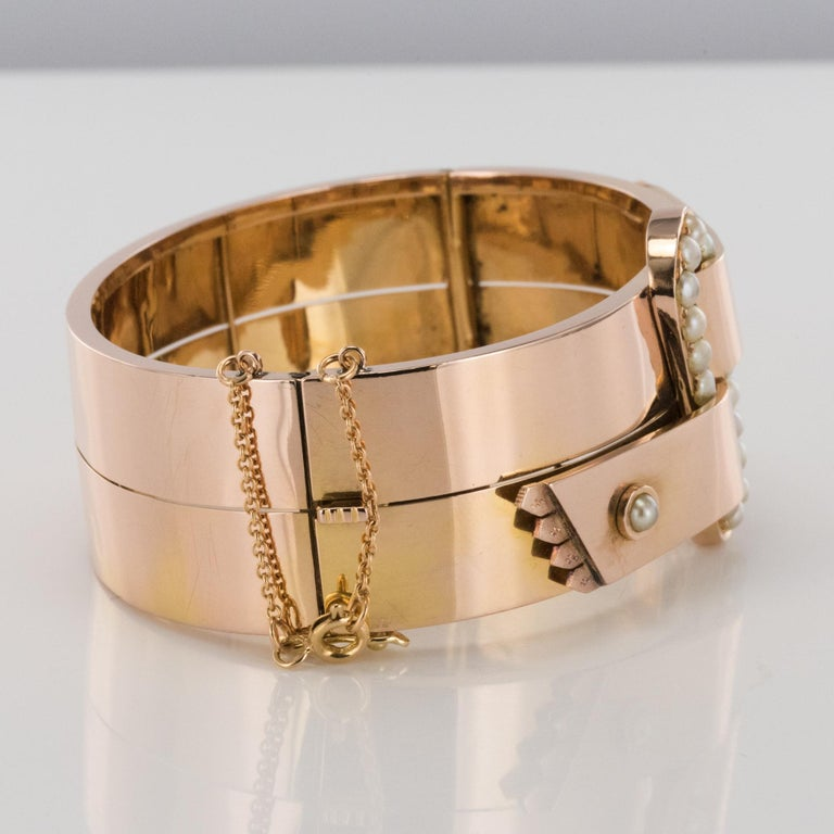 French Napoleon III Natural Pearl and Rose Gold Belt Bangle Bracelet For Sale 2