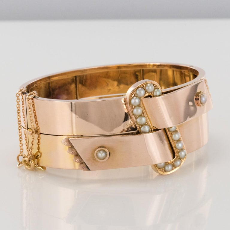 French Napoleon III Natural Pearl and Rose Gold Belt Bangle Bracelet For Sale 3