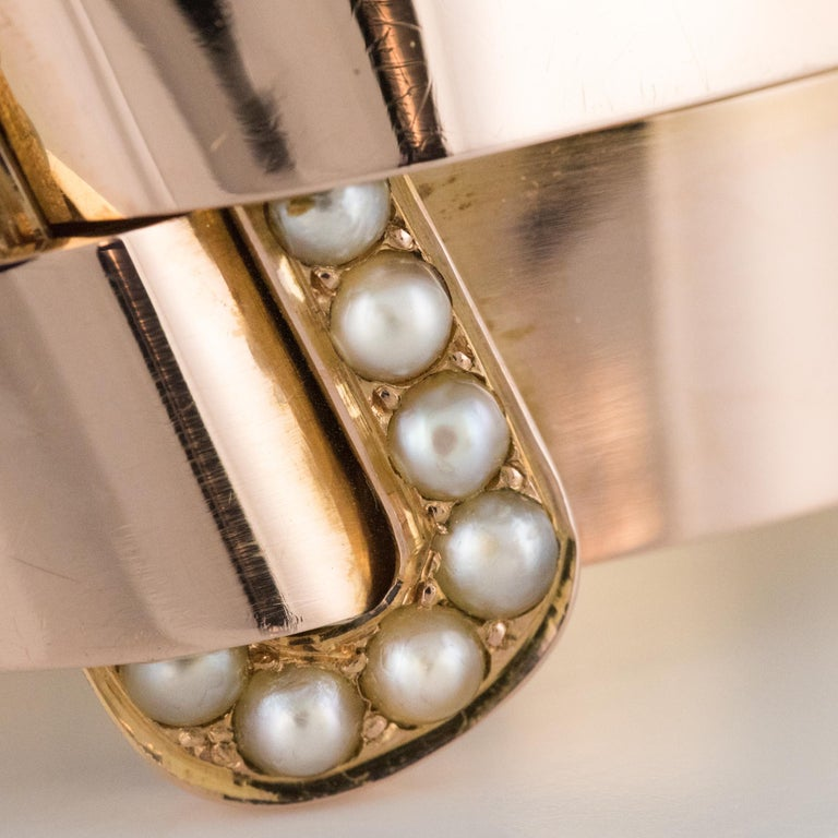 French Napoleon III Natural Pearl and Rose Gold Belt Bangle Bracelet For Sale 4