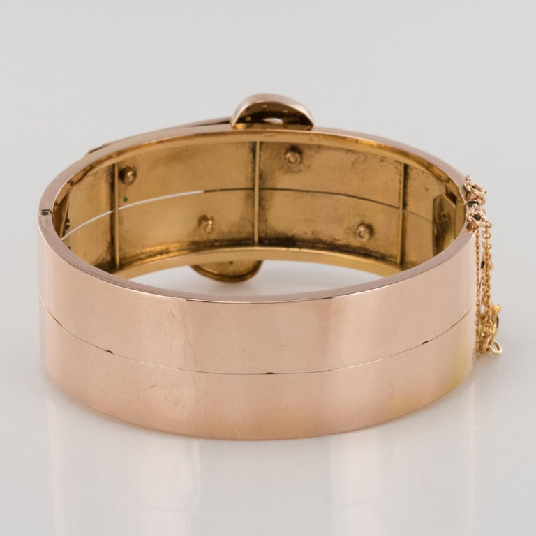 French Napoleon III Natural Pearl and Rose Gold Belt Bangle Bracelet For Sale 5