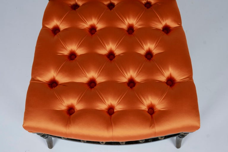 French Napoleon III Orange Silk Chair For Sale 6