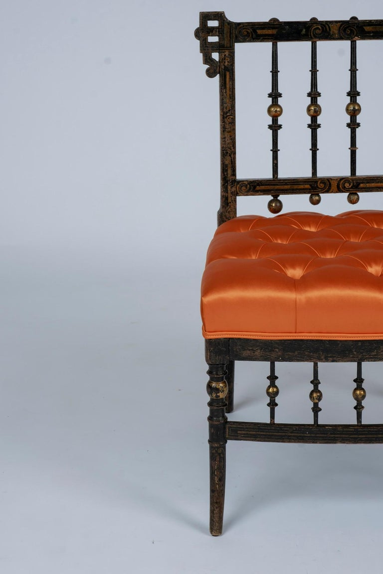 French Napoleon III Orange Silk Chair For Sale 7