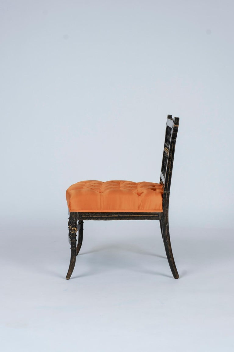 Ebonized French Napoleon III Orange Silk Chair For Sale