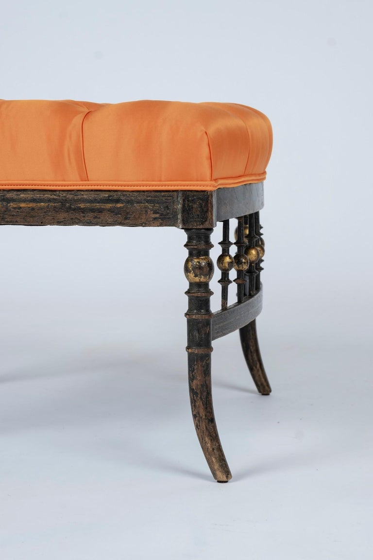 Giltwood French Napoleon III Orange Silk Chair For Sale