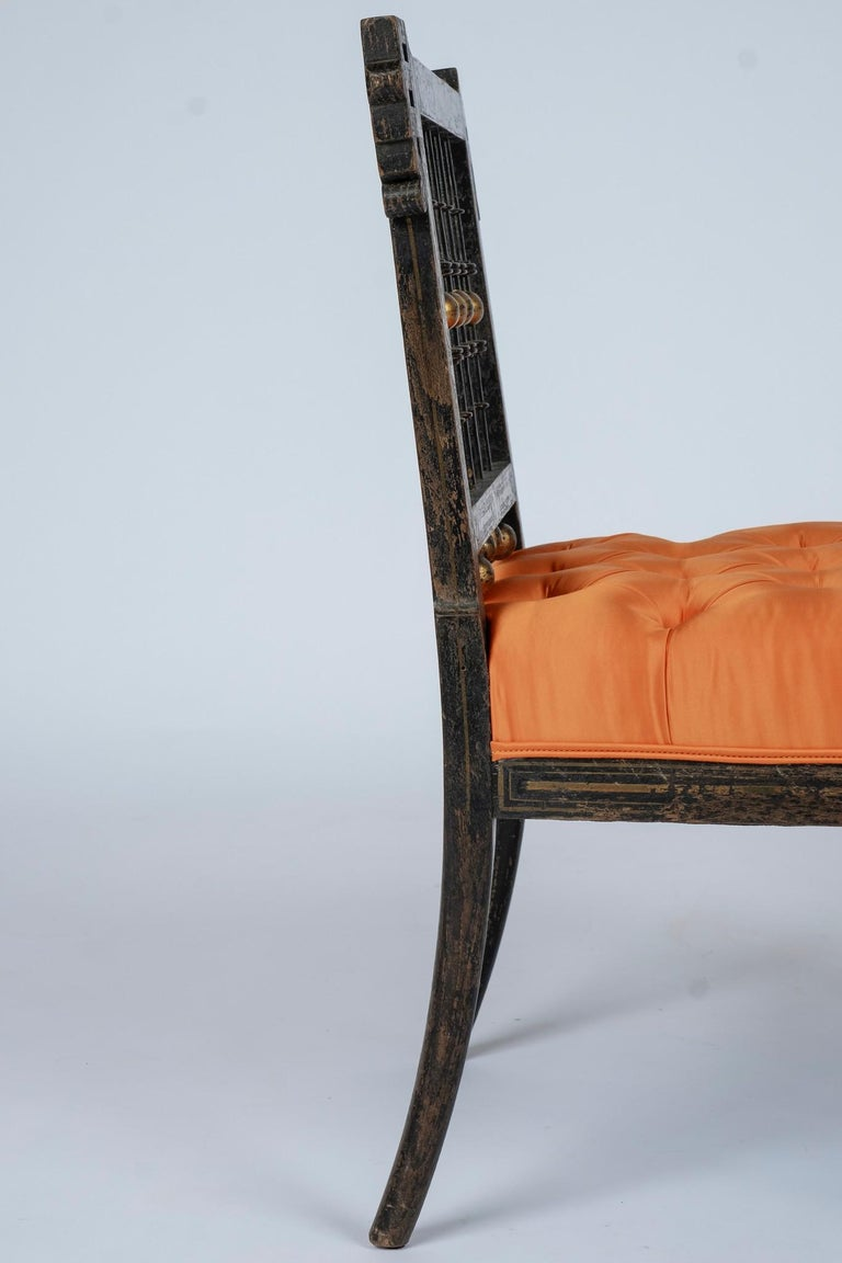 French Napoleon III Orange Silk Chair For Sale 1
