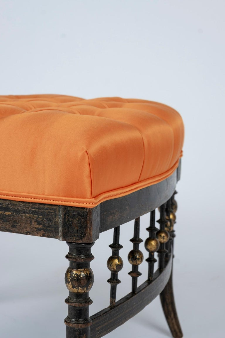 French Napoleon III Orange Silk Chair For Sale 2