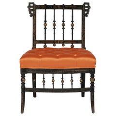 French Napoleon III Orange Silk Chair