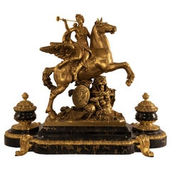 French Napoleon III Ormolu and Marble Inkstand