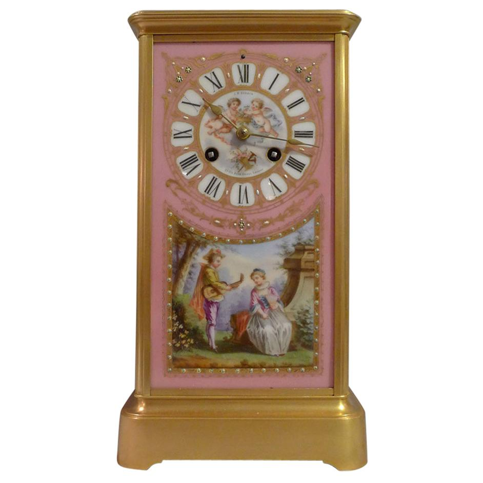 French Napoleon III Ormolu and Porcelain Sided Mantel Clock in Four Glass Form