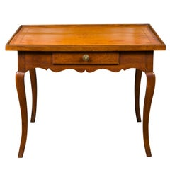 French Napoleon III Period 1850s Walnut Table with Leather Top and Single Drawer