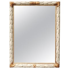 French Napoleon III Period 1860s Painted Rectangular Mirror with Laurel Leaves