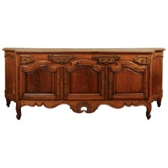 French Napoléon III Period 1860s Walnut Enfilade with Oak Top and Bombé Sides