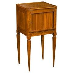 French Napoleon III Period 1870s Walnut Bedside Table with Tambour Door