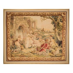 French Napoleon III Period Mid-19th Century Framed Aubusson Tapestry