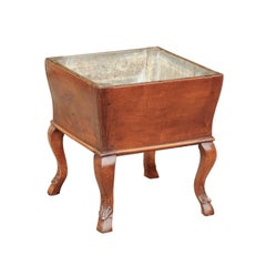 French Napoleon III Period Walnut Planter with Tin Interior and Cabriole Legs