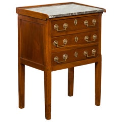 French Napoléon III Period Walnut Table with Grey Marble Top and Three Drawers