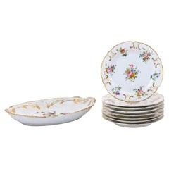 French Napoléon III Porcelain de Paris Plates with Floral Décor, Sold Separately
