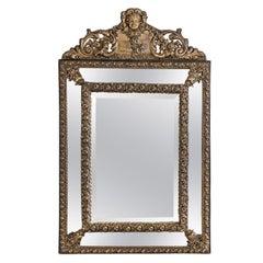 French Napoleon III Repoussé Cushion Mirror