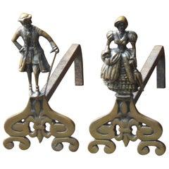 French Napoleon III Style Andirons or Firedogs