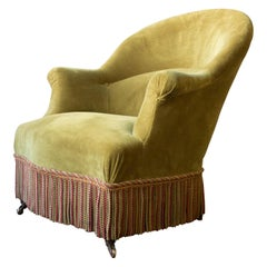 French Napoleon III Style Armchair in Green Gold Velvet
