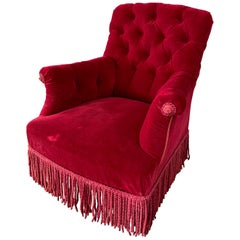 French Napoleon III Tufted Armchair in Red Velvet