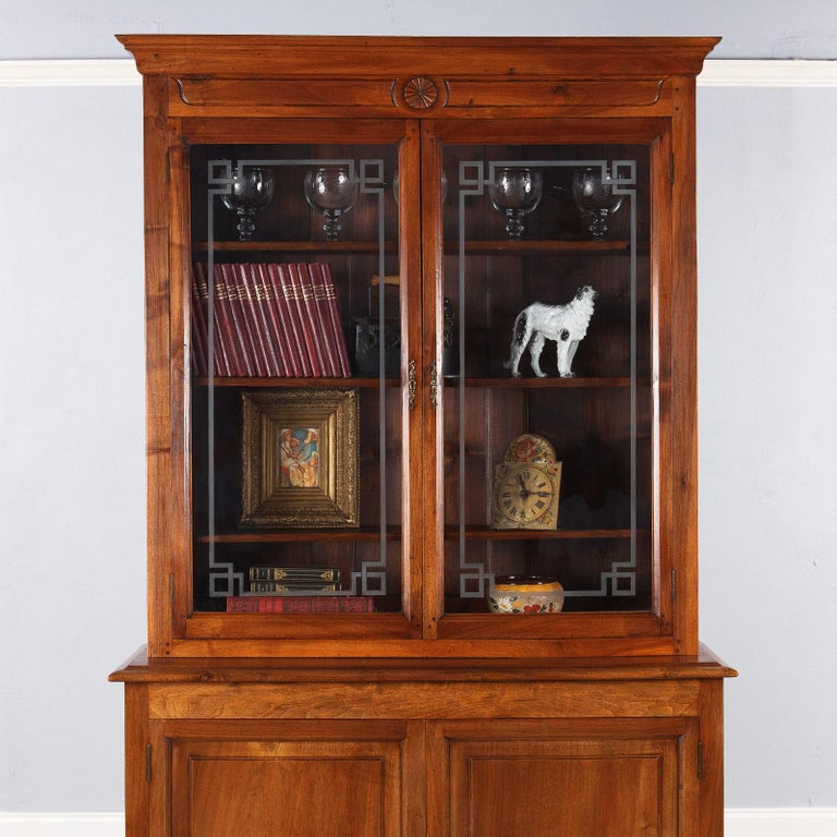 French Napoleon III Walnut Cabinet Bookcase, Late 1800s For Sale 6