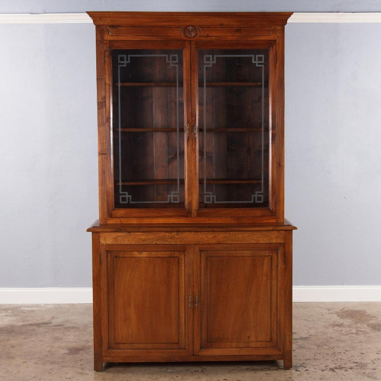 French Napoleon III Walnut Cabinet Bookcase, Late 1800s For Sale 9