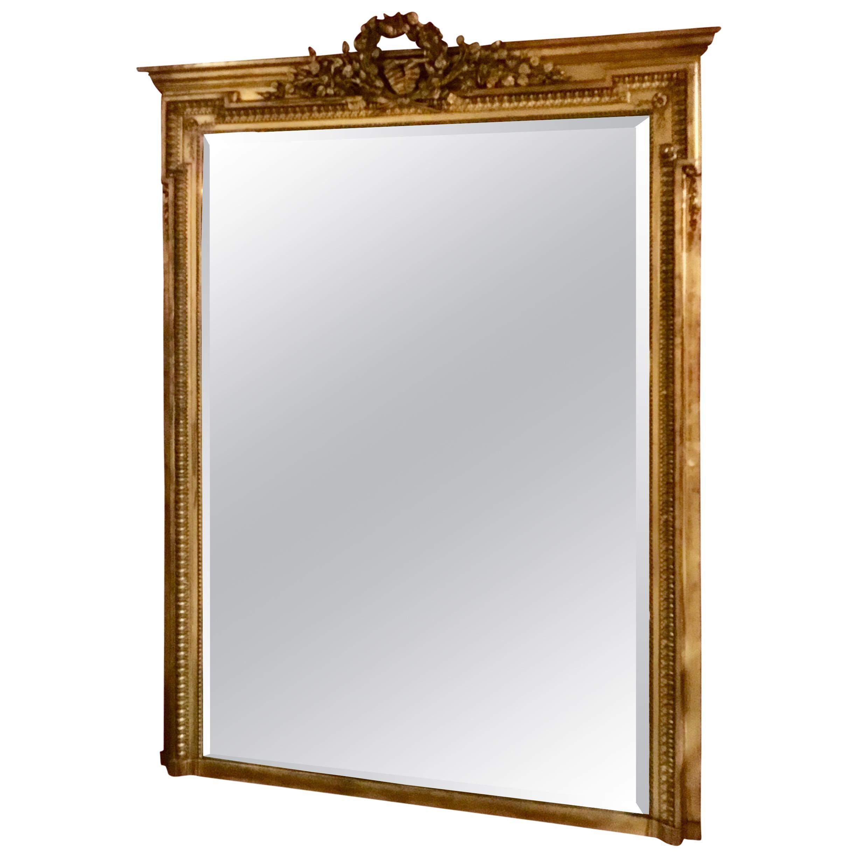 French Napoleon III Giltwood Mirror, 19th Century in the Louis XVI Style
