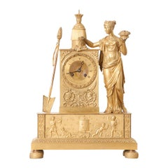 French Napoleonic Empire Gilt Bronze Mantel Clock