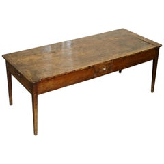 French Napoleonic Era 1780 Large Fruitwood Refectory Dining Table Huge Drawers