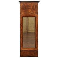 French Narrow Mirror with Bookmarked Walnut Veneer from the Late 19th Century