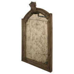 French Natural Carved Wood Aged Mirror