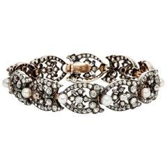 French Natural Pearl Diamond Bracelet