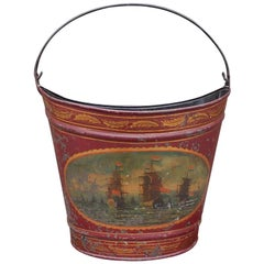 French Navette Form Tole Fuel Bucket with Foliage and Nautical Scenes Circa 1830