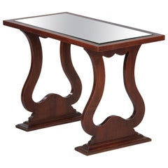 French Neoclassical Mirrored Top Mahogany Coffee or Side Table, 1940s