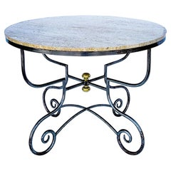 French Neo-Classical Style Steel, Brass and Stone Center or Dining Table