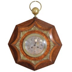 French Neoclassic Burl Walnut and Brass Octagonal Wall Clock, 2nd q 19th Century