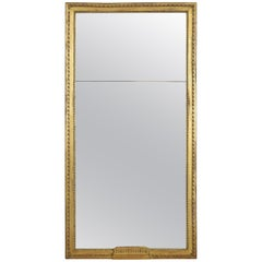 French Neoclassic Carved Giltwood Mirror, Two-Piece Glass