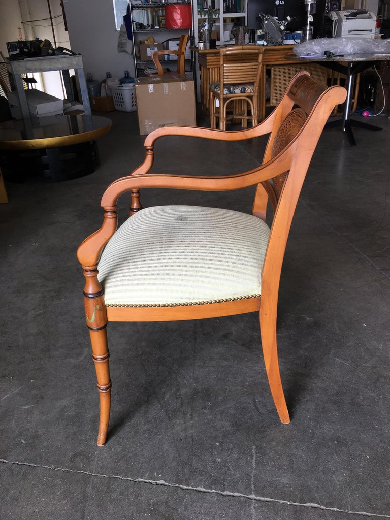 French Neoclassic Dining Chair with Hand-Painted Woven Wicker Back For Sale 4
