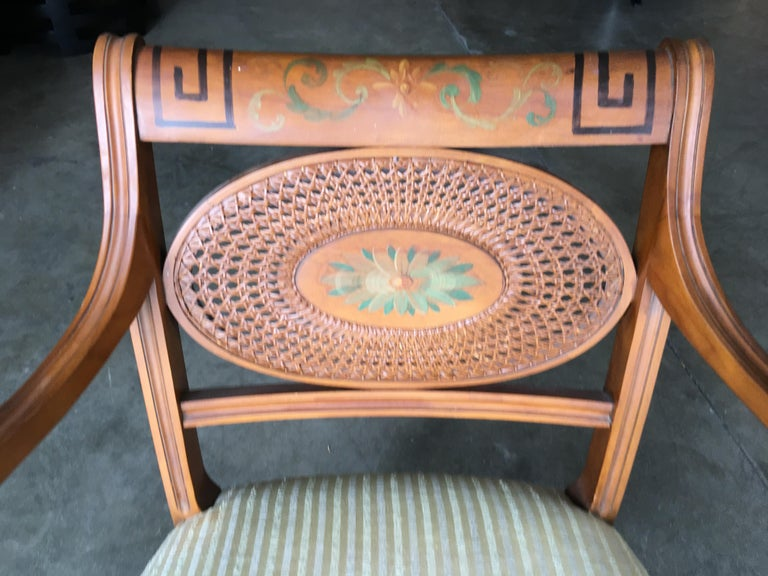 French Neoclassic Dining Chair with Hand-Painted Woven Wicker Back For Sale 5