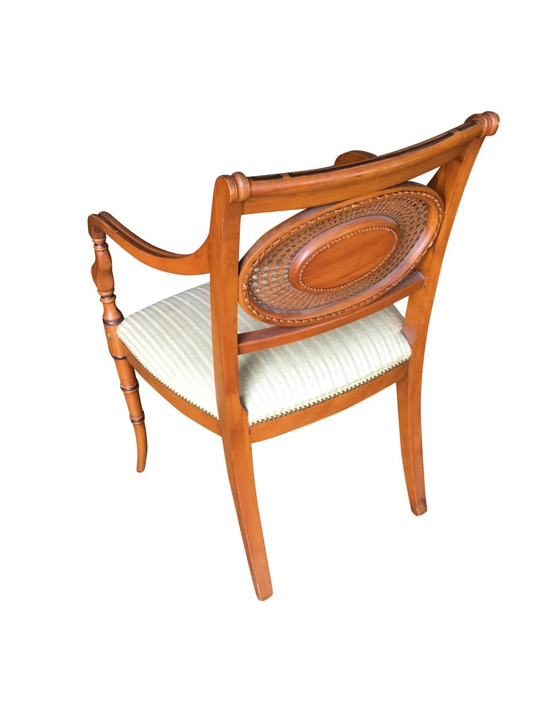 Neoclassical French Neoclassic Dining Chair with Hand-Painted Woven Wicker Back For Sale
