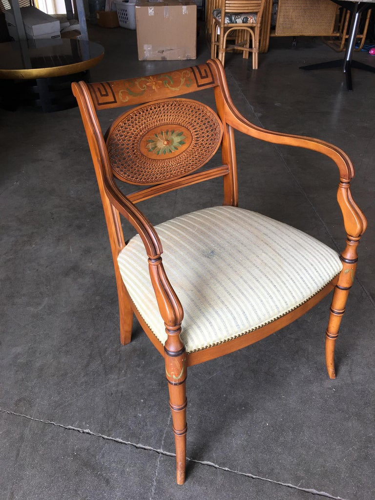 American French Neoclassic Dining Chair with Hand-Painted Woven Wicker Back For Sale