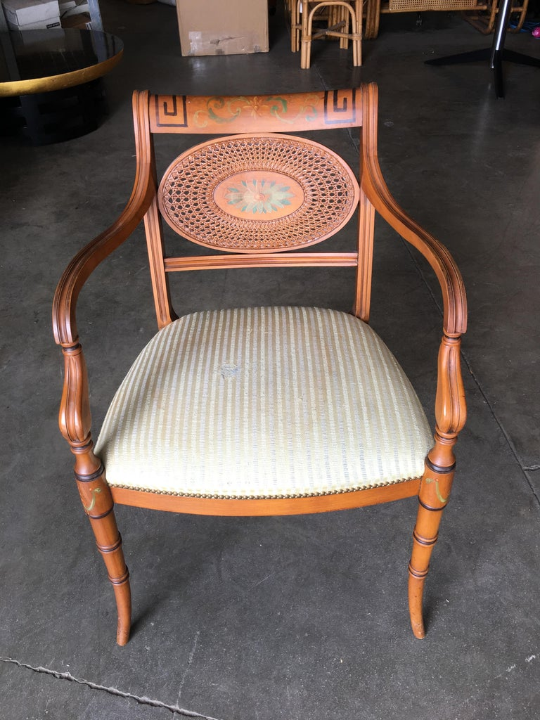 French Neoclassic Dining Chair with Hand-Painted Woven Wicker Back In Excellent Condition For Sale In Van Nuys, CA