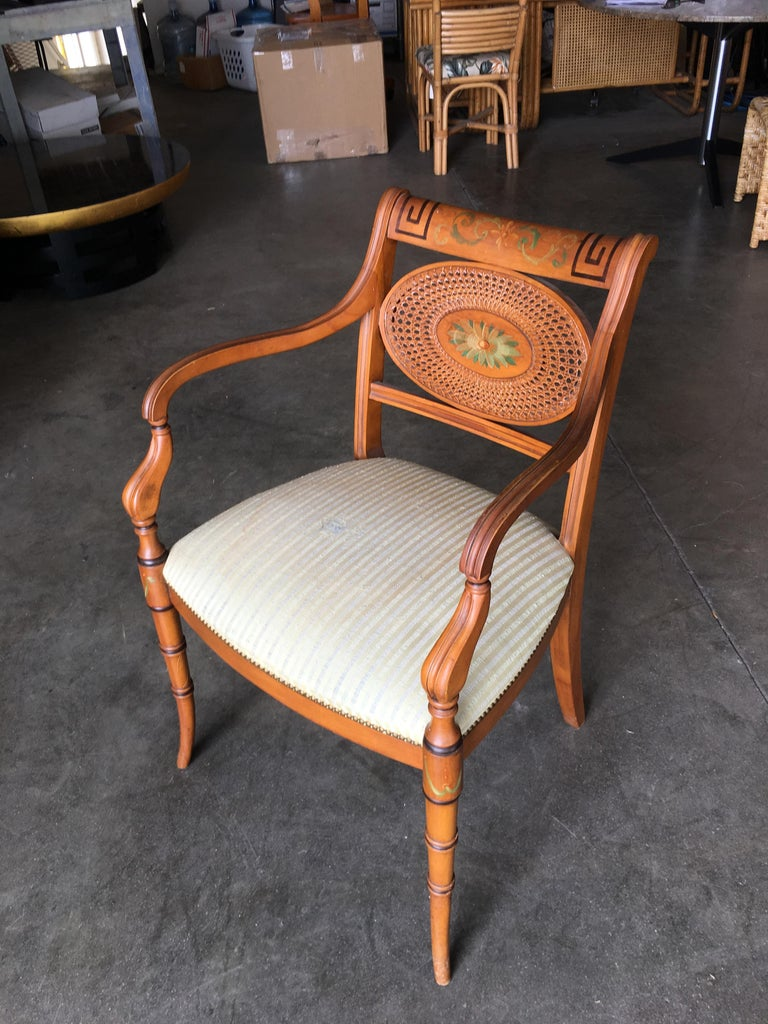 Mid-20th Century French Neoclassic Dining Chair with Hand-Painted Woven Wicker Back For Sale