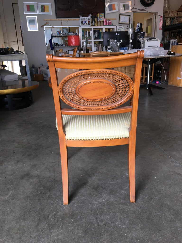 French Neoclassic Dining Chair with Hand-Painted Woven Wicker Back For Sale 1