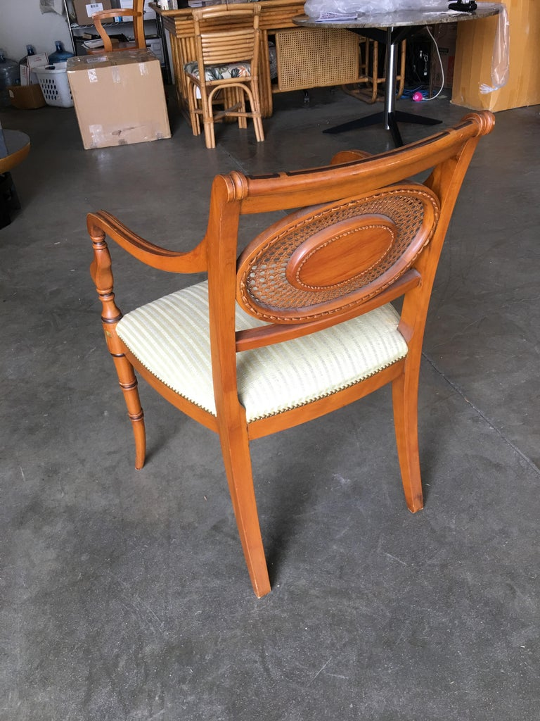 French Neoclassic Dining Chair with Hand-Painted Woven Wicker Back For Sale 2