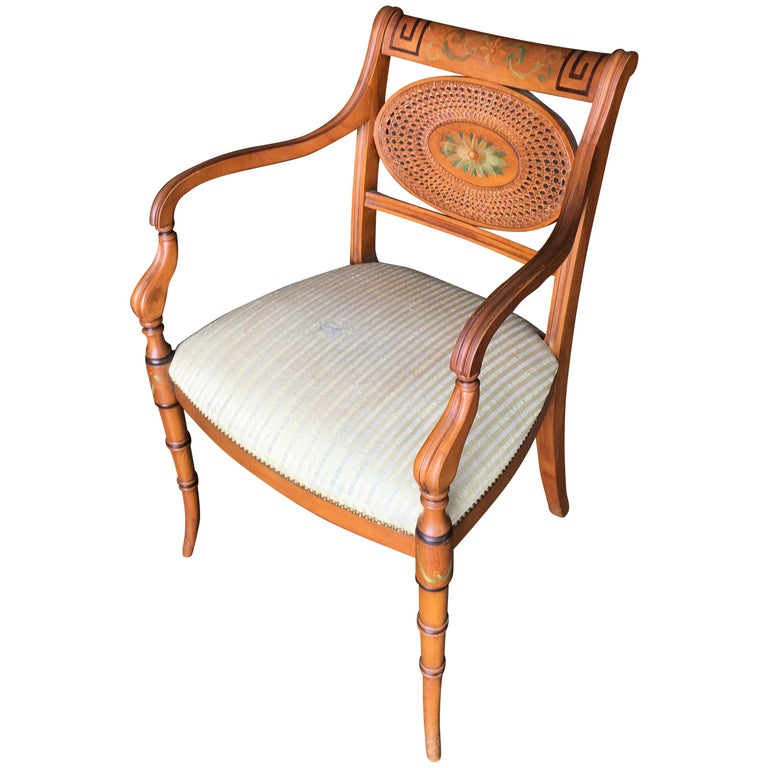 French Neoclassic Dining Chair with Hand-Painted Woven Wicker Back For Sale