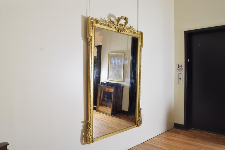 Neoclassical Revival French Neoclassic Large Carved Giltwood and Gilt-Gesso Mirror, 3rdq 19th Cen. For Sale