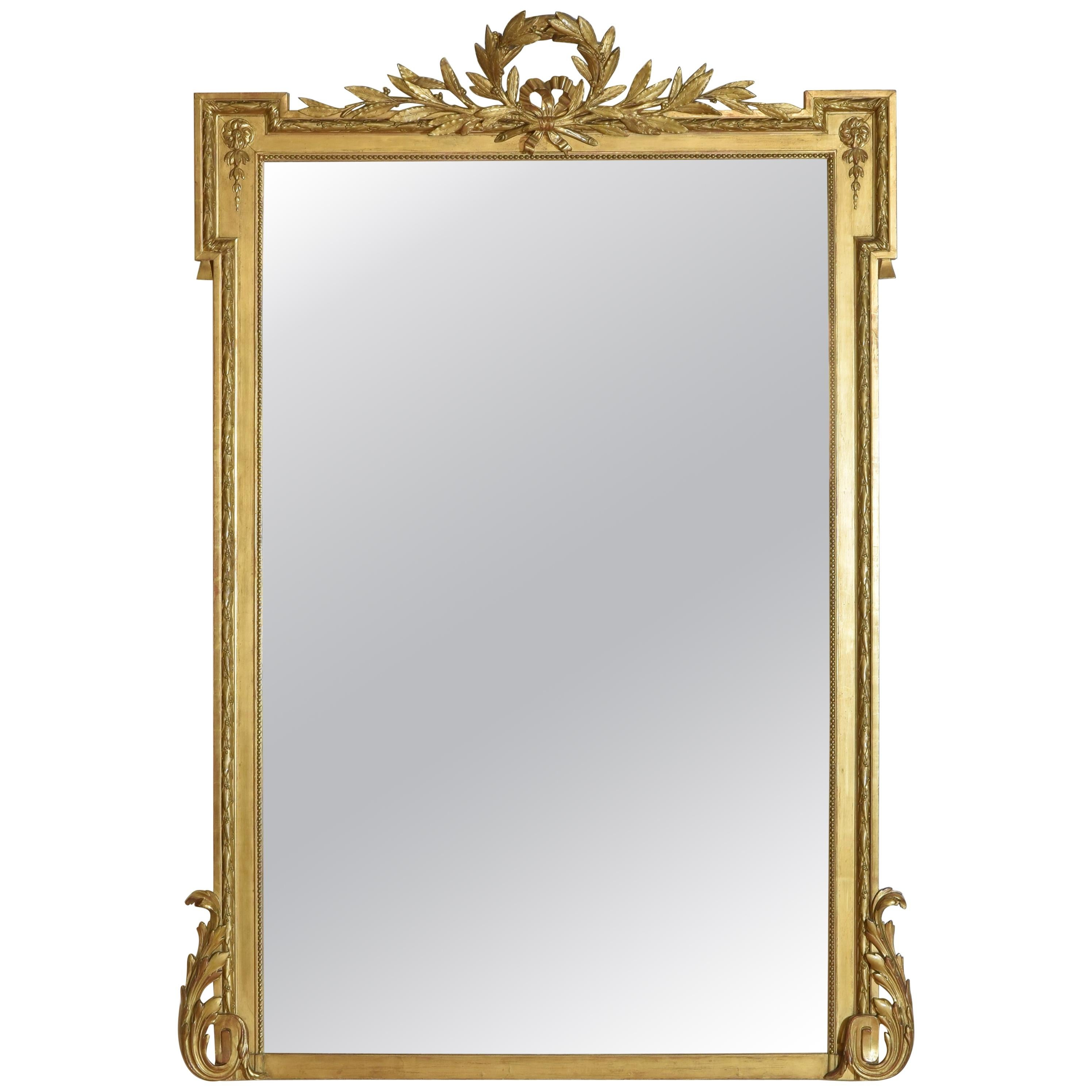 French Neoclassic Large Carved Giltwood and Gilt-Gesso Mirror, 3rdq 19th Cen.
